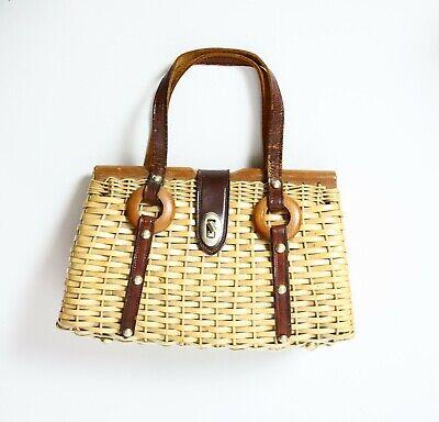 1950s Handbags, Purses, and Evening Bag Styles Fishing Basket Handbag Purse Vintage 50s 60s Kitsch Pinup Boho Hippy Cottagecore $44.93 AT vintagedancer.com