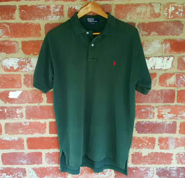 Ralph Lauren Olive Green Polo Shirt L Red Pony Logo Authentic