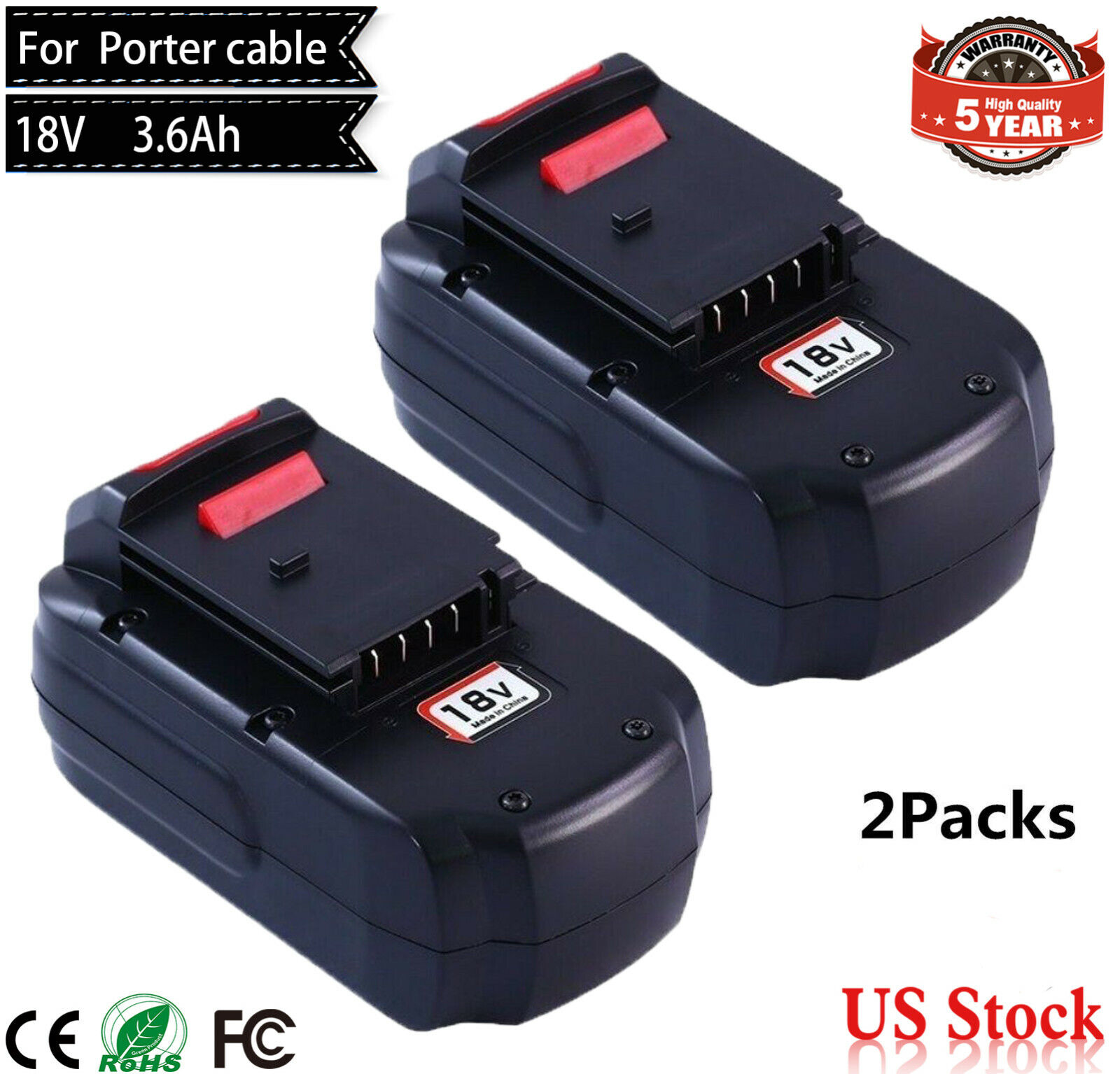 3.6Ah EXTENDED For Porter Cable 18V Battery PC18B PCC489N PC