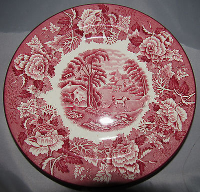 ENOCH WOODS WARE ENGLISH SCENERY RED PINK 1784 1750 RALPH ENGLAND DESSERT PLATE