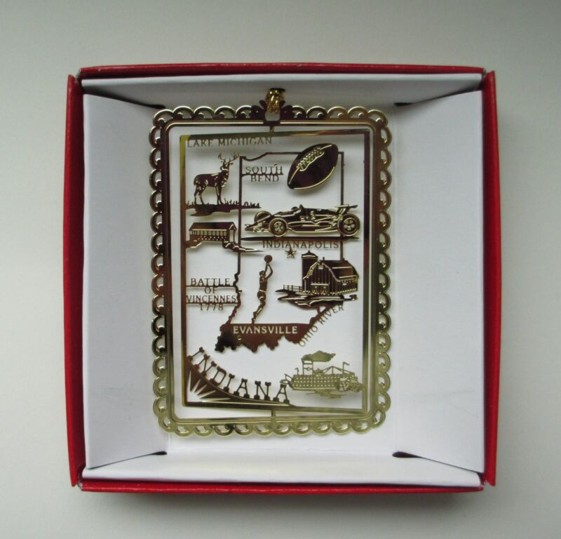 Indiana Brass Ornament State Landmarks Travel Souvenir Gift