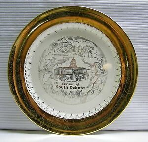 South Dakota Souvenir Plate Vintage Mt Rushmore Cathedral Spires Capitol