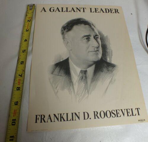 """Franklin D Roosevelt A Gallant Leader Campaign Flyer Poster 8.25""""x10.75"""" MJ052"""