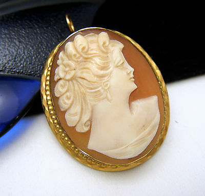 Vintage Carved Shell Cameo Brooch Pendant 12k Gold Filled on Lookza