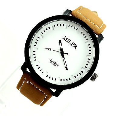 Fashion Men Teen Outdoor Durable Leather Sport Wrist Watch Watches White Brown V