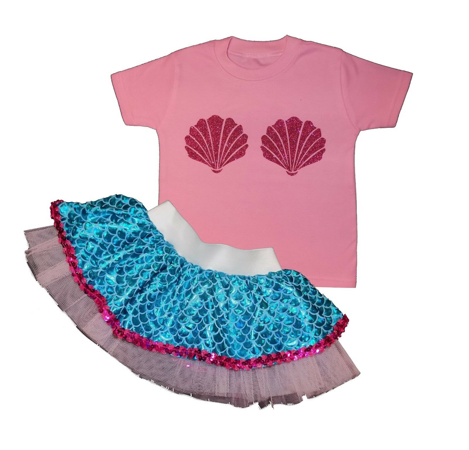 Baby Mermaid Tutu Skirt Girls Kids Fancy Dress Top Costume Sparkle