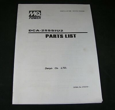 Mq Multiquip Engine Driven Generator Dca-25ssiu2 Parts Manual List Book Catalog