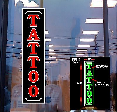 Tattoo Led Window Sign 48x12 Neon Banner Alternative New Generation Leds