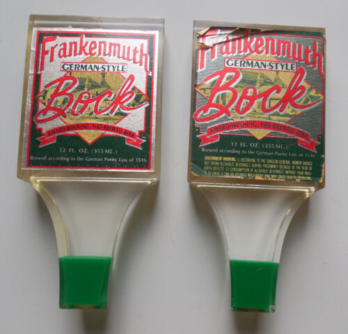 Vintage Frankenmuth German-Style Bock acrylic Beer Tap Handle Lot of (2)