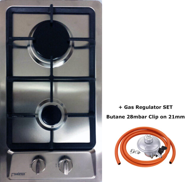 Domino-S 30cm Built-in Gas hob 2 burners Cooktop Stainless steel LPG FFD NEW