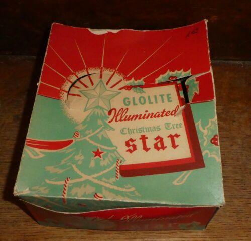 Vintage Glolite Illuminated Christmas Tree Star Original Box ~ Works! 1950s BS2