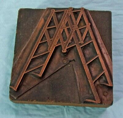 Vintage Printing Letterpress Printers Block Ship Ancor In Triangle /& Circle