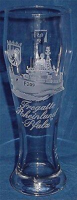 """Geschliffenes Marine Weizenbierglas Fregatte """"Rheinland-Pfalz"""" F209 .......G3824"""