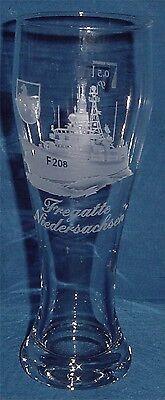 """Geschliffenes Marine Weizenbierglas Fregatte /""""Hessen/"""" F221 .........G3829"""