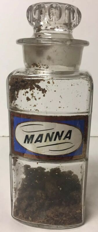 EARLY APOTHECARY DRUGSTORE LABEL UNDER GLASS BOTTLE JAR MANNA