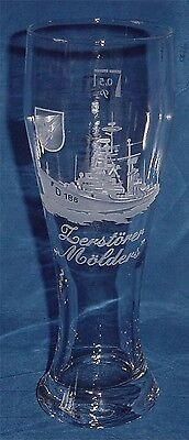 "Geschliffenes Marine Weizenbierglas Zerstörer ""Mölders"" D186 ..........G3832"