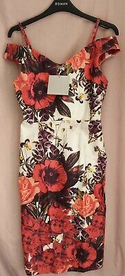 Hope and Ivy Bardot Pencil Dress with Flower Placement UK 10 EU 38 LN004 MM 12