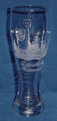 Geschliffenes Marine Weizenbierglas Zerstörer Rommel D187 ..........G3811