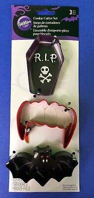 Wilton Halloween Cookie Cutter Set (Vampire Cookie Cutter Set of 3 coffin, fangs & bat Wilton Halloween October)