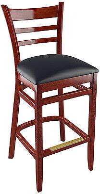 Us Made Ladder Back Restaurat Bar Stool In Mahogany Finish And Black Vinyl
