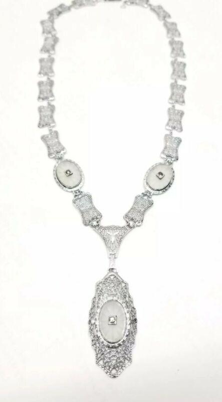 1920s Art Deco Filigree 10k White Gold Camphor Glass Nouveau Necklace Vintage
