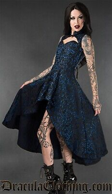 Dracula Clothing Emerald Steel Choker Dress L Corset Goth Brocade Steampunk