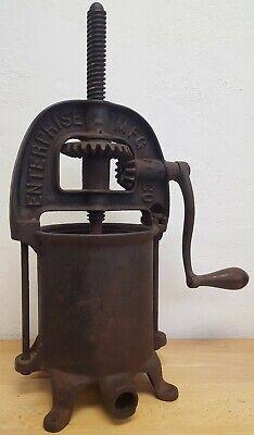 Antique Vintage Enterprise Mfg Co Cast Iron Sausage Stuffer Fruit Press Machine