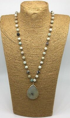 (Fashion matt Amazonite Stones Chain stone Pendant Necklace handmade woman gift)