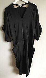 Vanessa Bruno Black Satin Kimono Sleeve Dress 38 UK 10