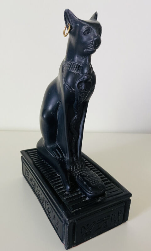 Black Egyptian Cat Statue Bastet One Gold Earring Sarcophagus Base Made of Resin