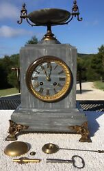 1870's Antique French Mantel Shelf Marble Clock Working Magnificently with Urn