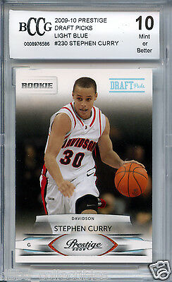 STEPHEN CURRY Warriors 2009 Prestige 230 Blue #118/999 rookie BGS BCCG 10 MINT !