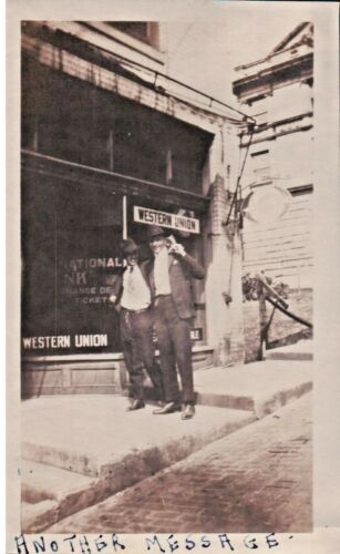 VINTAGE PHOTO, WESTERN UNION OFFICE 1920s FLAPPERS, 2 HANDSOME MEN in VA or WV