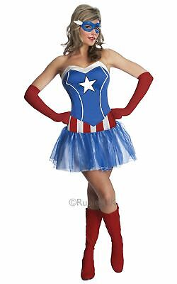 Captain America Womens Costume DC comics Marvel Superhero Fancy Dress outfit ()
