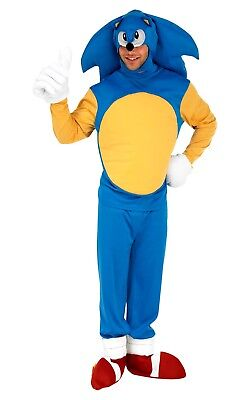 Adult SONIC THE HEDGEHOG Fancy Dress Costume Gaming TV Licensed Outfit Film Mens - Mens Sonic Costume