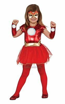 Girls Iron Man Costume Kids Marvel DC Comics Superhero Fancy Dress Outfit Lic