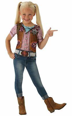 Girls Cowgirl Tshirt Costume Kids Wild West Western Fancy Dress Outfit Dressup