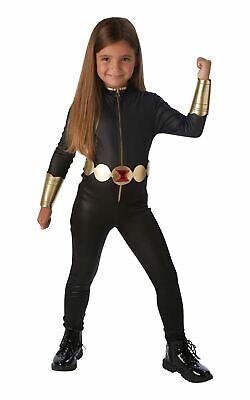 Girls Black Widow Costume Kids Marvel DC Comics Superhero Fancy Dress Outfit Lic