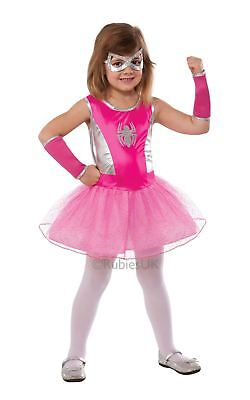KIDS PRETTY PINK SPIDER GIRL SUPER HERO COSTUME TUTU WEBSLINGER FANCY DRESS CUTE ()