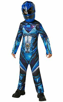 Blue Power Ranger Outfit (Boys Power Blue Ranger Costume Kids Fancy Dress Licensed Outfit Movie)