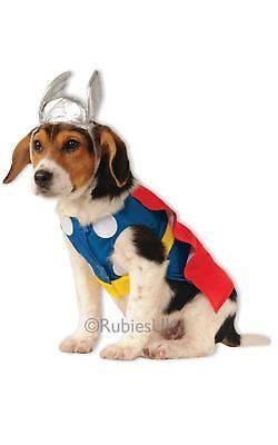 ANIMAL THOR DOG COSTUME MARVEL NORSE GOD SUPER HERO DOGGIE RED BLUE FANCY DRESS