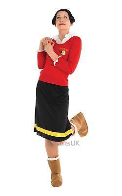 Popeye Olive Oyl Kostüme (Damen Olive Oyl Öl Popeye TV-Show 60s Jahre Cartoon Comic Kostüm Kleid Outfit)