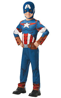 Kids Boys Childs Captain America Fancy Dress Costume Outfit Avengers Superhero - Captain America Kids Outfit