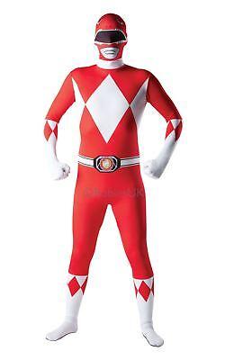 Herren Mighty Morphin Rot Power Ranger 2ND Skin Tv-Show Kostüm Kleid Outfit