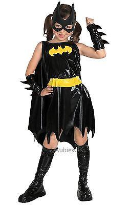 Mädchen Batman Kostüme (Mädchen Deluxe Batgirl Batman Superheld Bat Girl Kinder Kostüm Kleid Outfit)