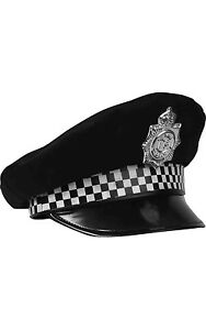 POLICE MAN PANDA CAP HAT WITH CHECK BAND BOBBY COP FANCY DRESS COSTUME HAT