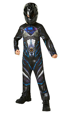Kids Boys Childs Power Ranger Black Fancy Dress Costume Outfit Rubies Childrens