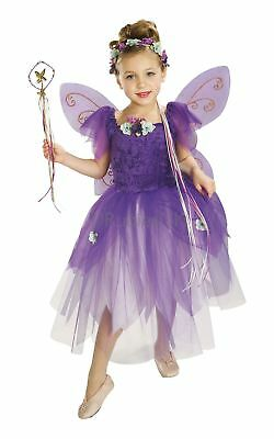 Mädchen Pflaume Pixie Lila Fee Engel Flügel Märchen Kostüm Kleid (Mädchen Lila Pixie Kostüme)