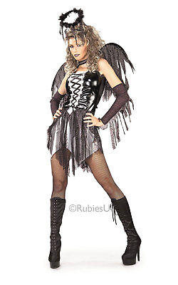 Ladies FALLEN ANGEL Fancy Dress Halloween Book Week Costume Bad Dark Fairy Women (Fallen Fairy Costume)