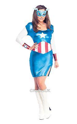 Damen Captain America Avengers Superhelden Cosplay Kostüm Kleid (Captain America Kostüme Damen)